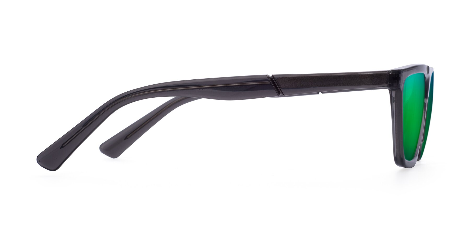 Side of Miles in Translucent Gray with Green Mirrored Lenses