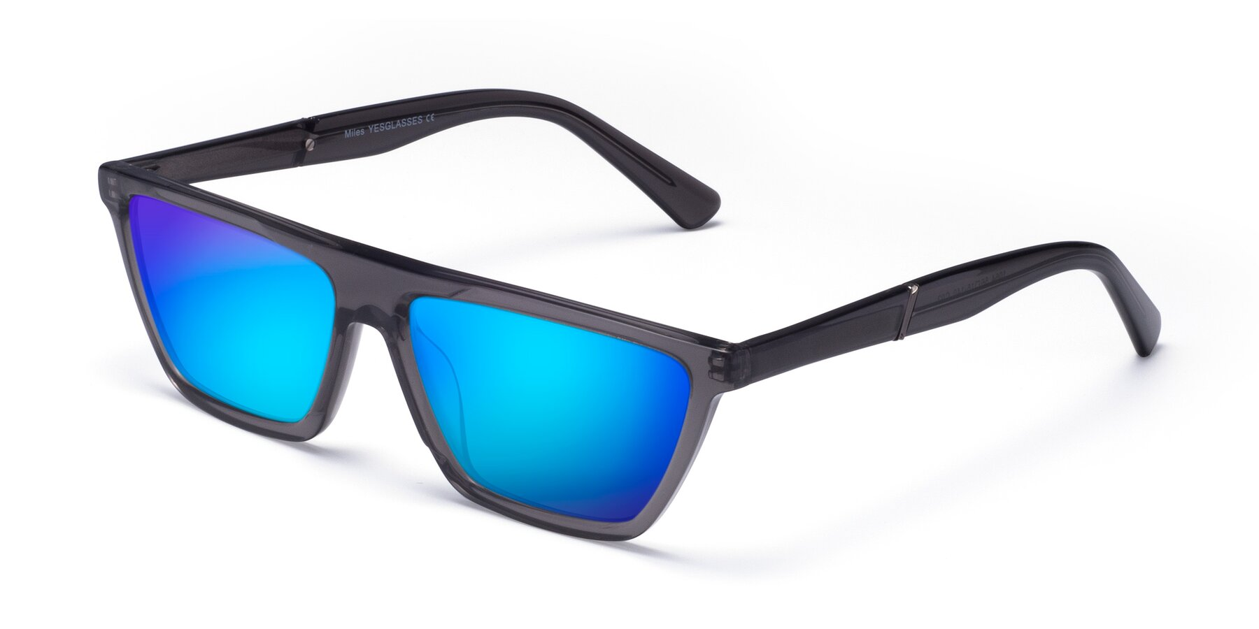 Angle of Miles in Translucent Gray with Blue Mirrored Lenses