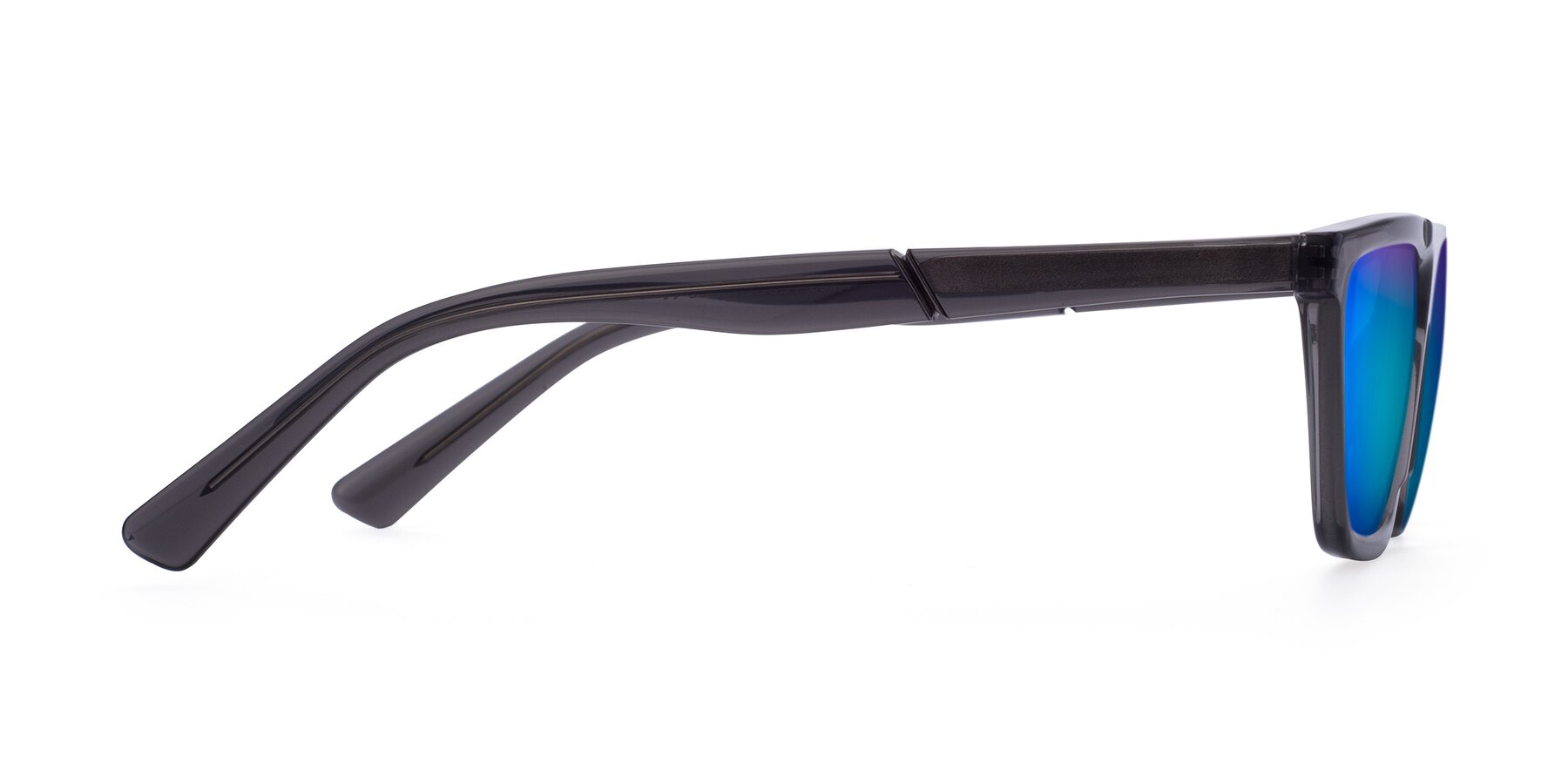 Side of Miles in Translucent Gray with Blue Mirrored Lenses