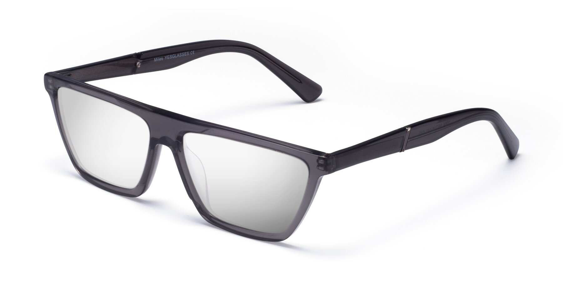 Angle of Miles in Translucent Gray with Silver Mirrored Lenses