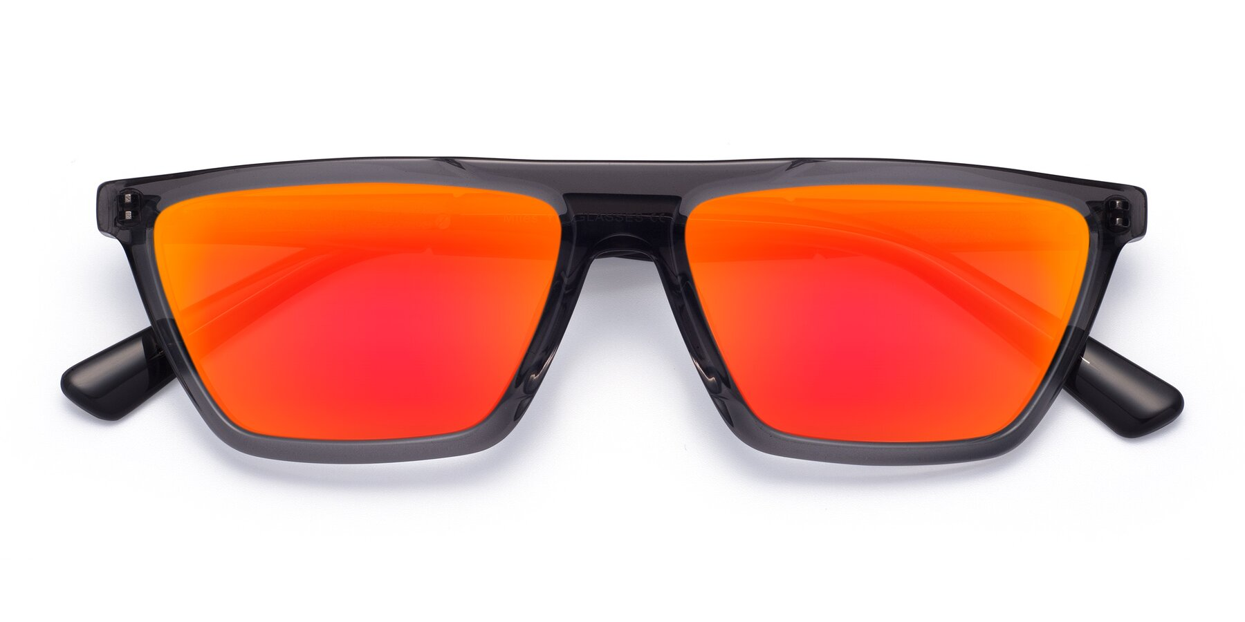 Folded Front of Miles in Translucent Gray with Red Gold Mirrored Lenses