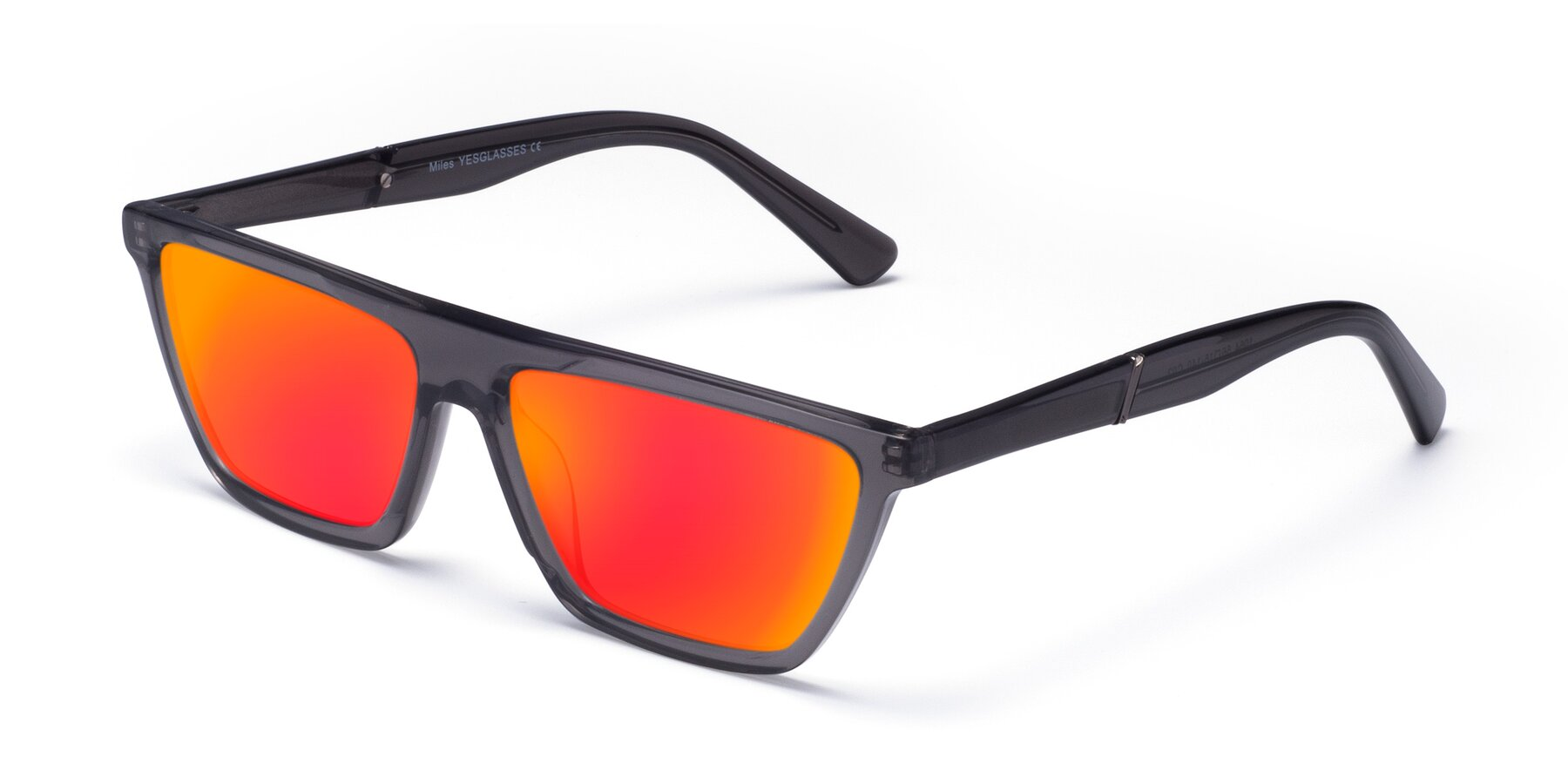 Angle of Miles in Translucent Gray with Red Gold Mirrored Lenses