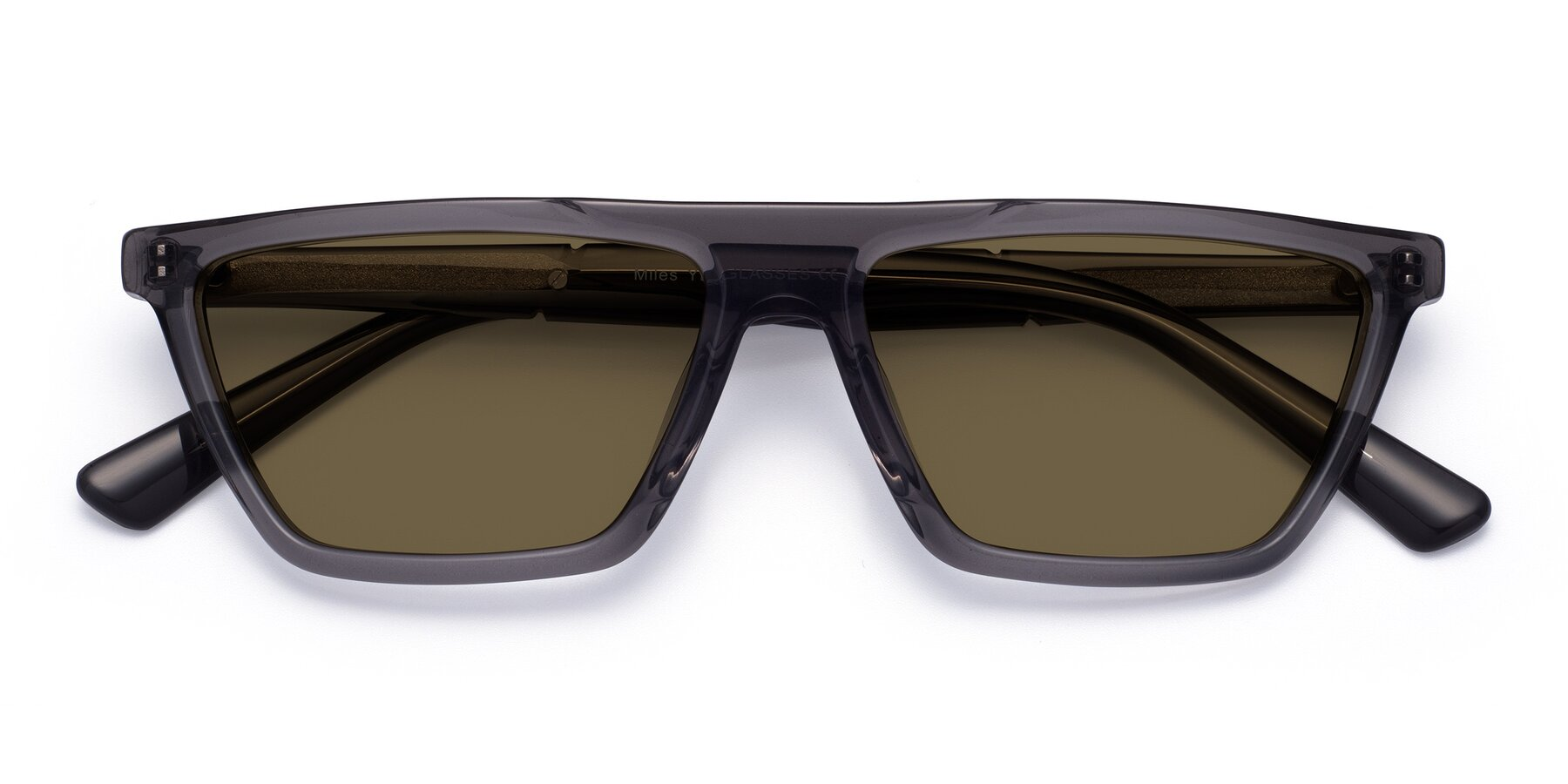 Folded Front of Miles in Translucent Gray with Brown Polarized Lenses