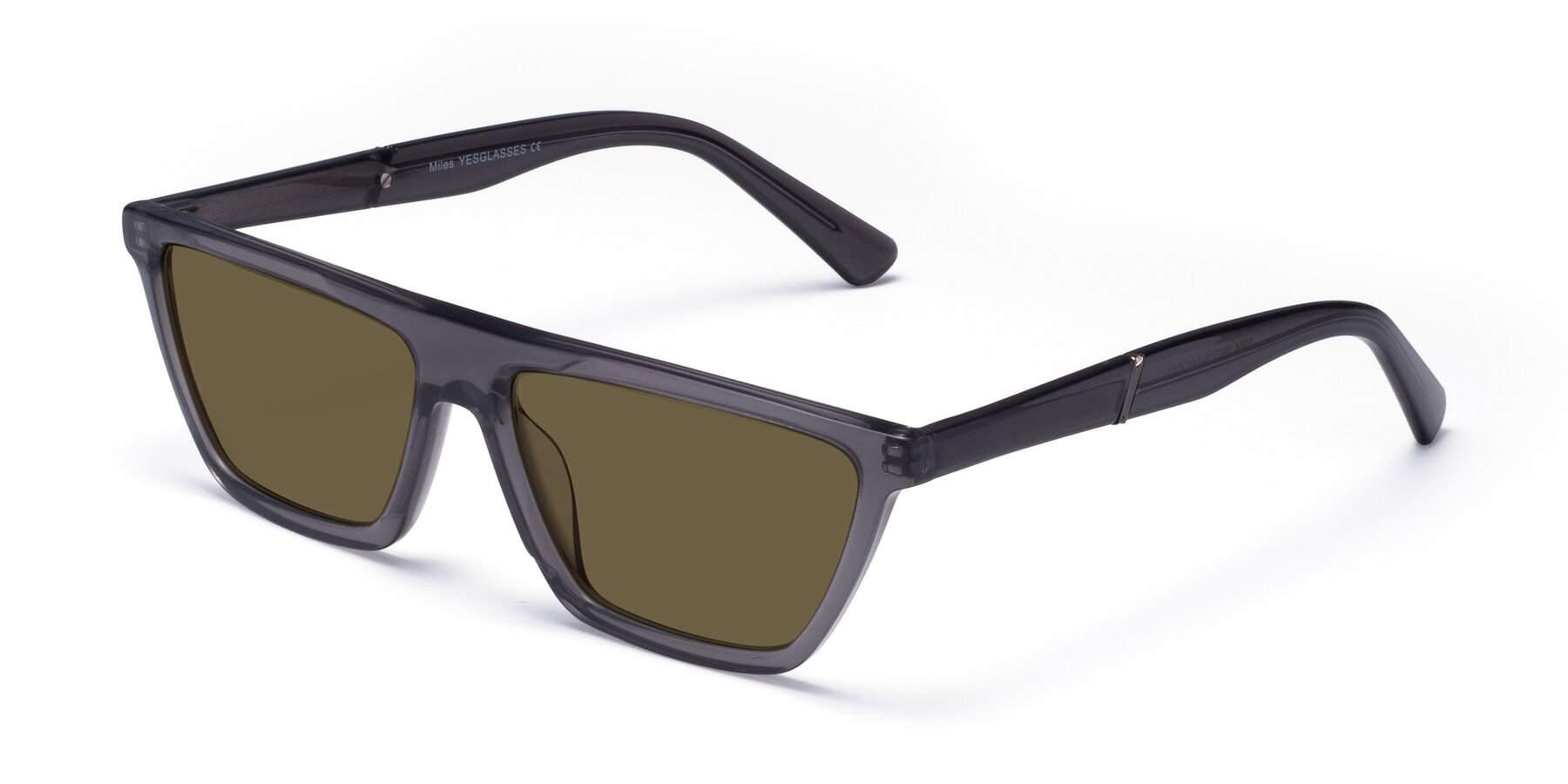 Angle of Miles in Translucent Gray with Brown Polarized Lenses