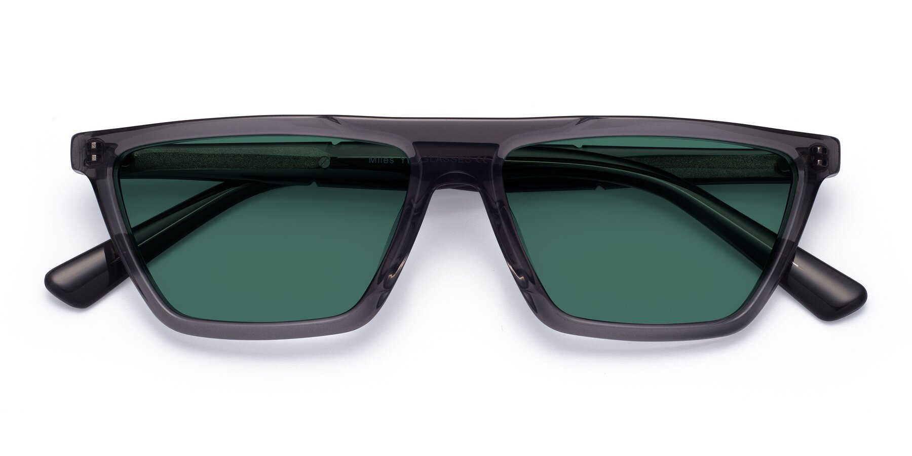 Folded Front of Miles in Translucent Gray with Green Polarized Lenses