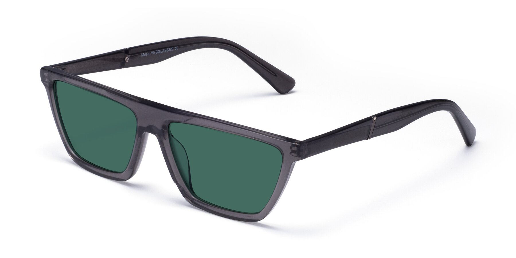 Angle of Miles in Translucent Gray with Green Polarized Lenses