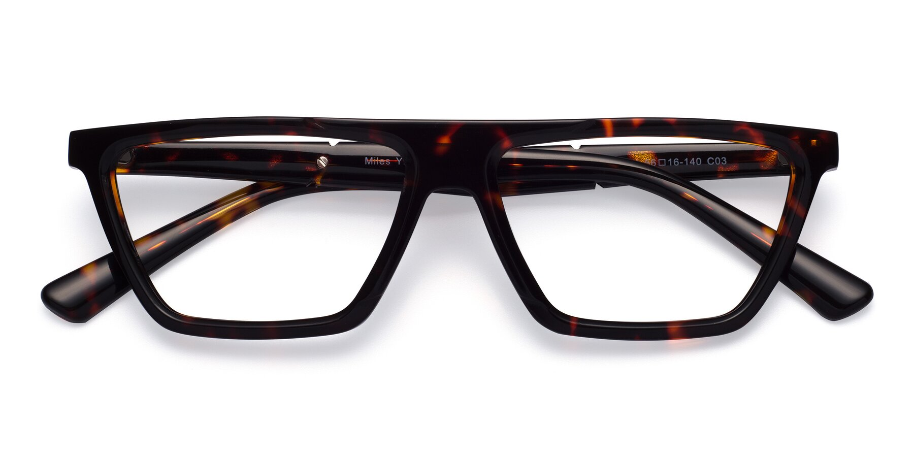 Folded Front of Miles in Tortoise with Clear Eyeglass Lenses