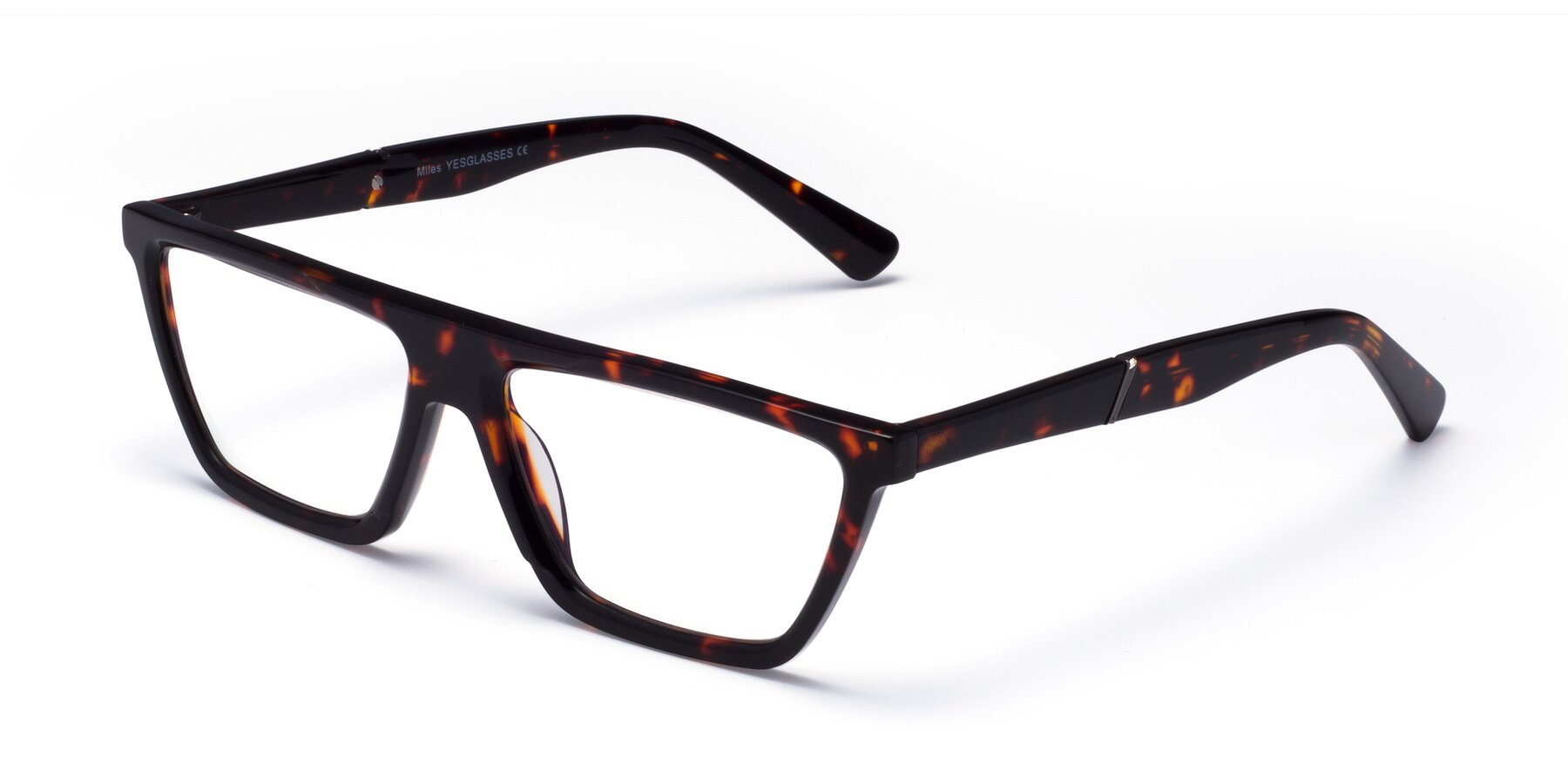 Angle of Miles in Tortoise with Clear Eyeglass Lenses