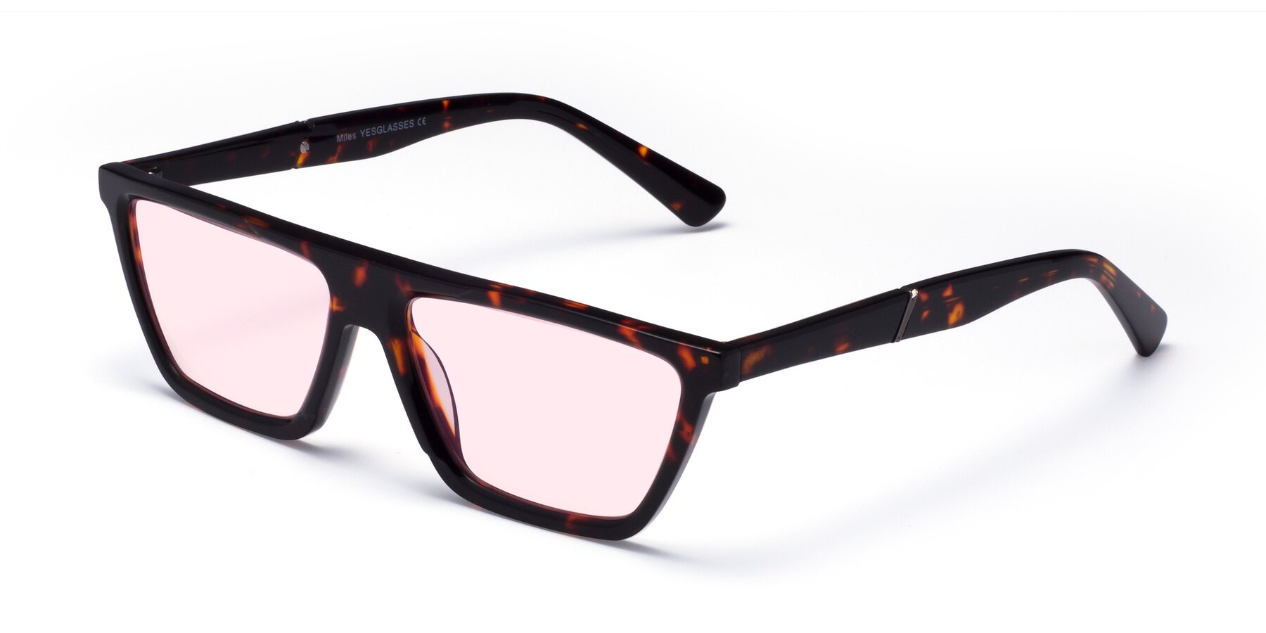 Angle of Miles in Tortoise with Light Pink Tinted Lenses
