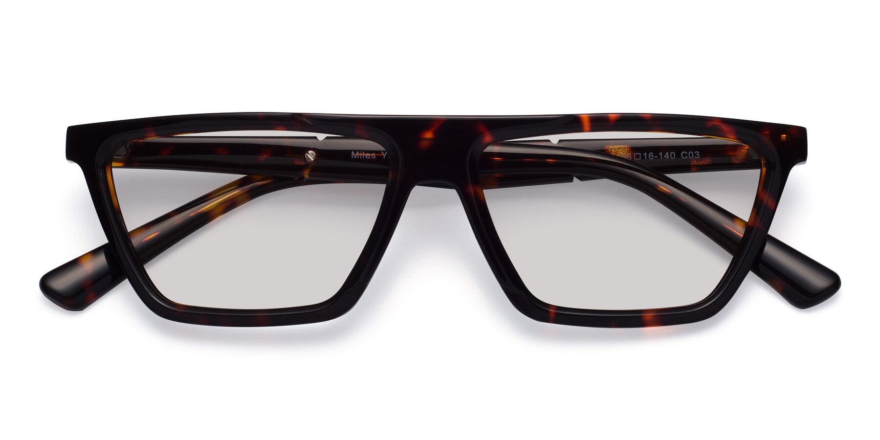 Folded Front of Miles in Tortoise with Light Gray Tinted Lenses