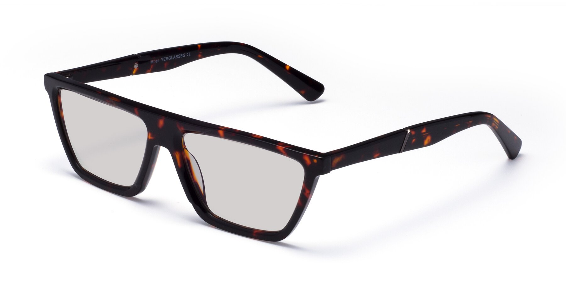Angle of Miles in Tortoise with Light Gray Tinted Lenses