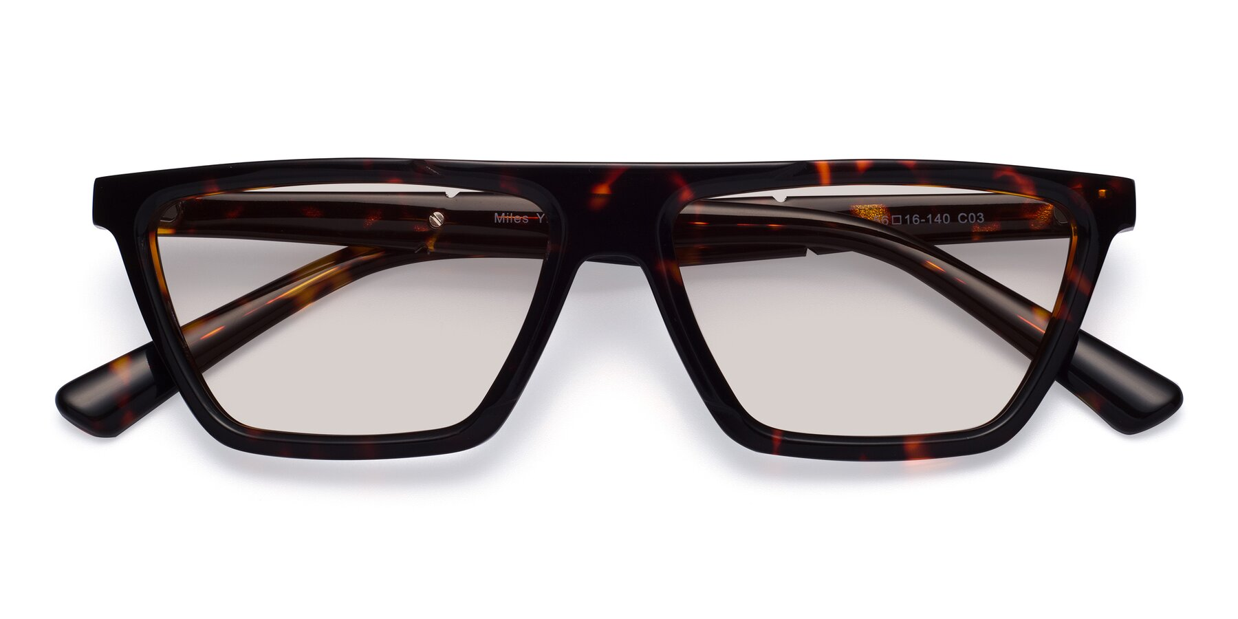 Folded Front of Miles in Tortoise with Light Brown Tinted Lenses