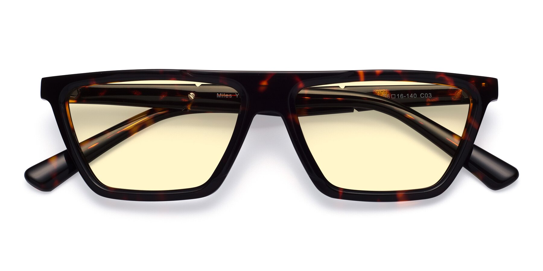 Folded Front of Miles in Tortoise with Light Yellow Tinted Lenses