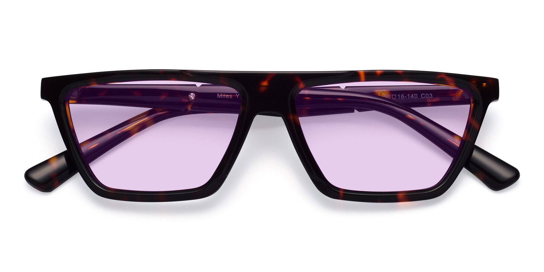 Folded Front of Miles in Tortoise with Light Purple Tinted Lenses