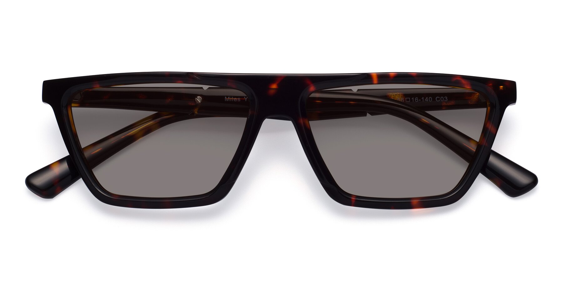 Folded Front of Miles in Tortoise with Medium Gray Tinted Lenses