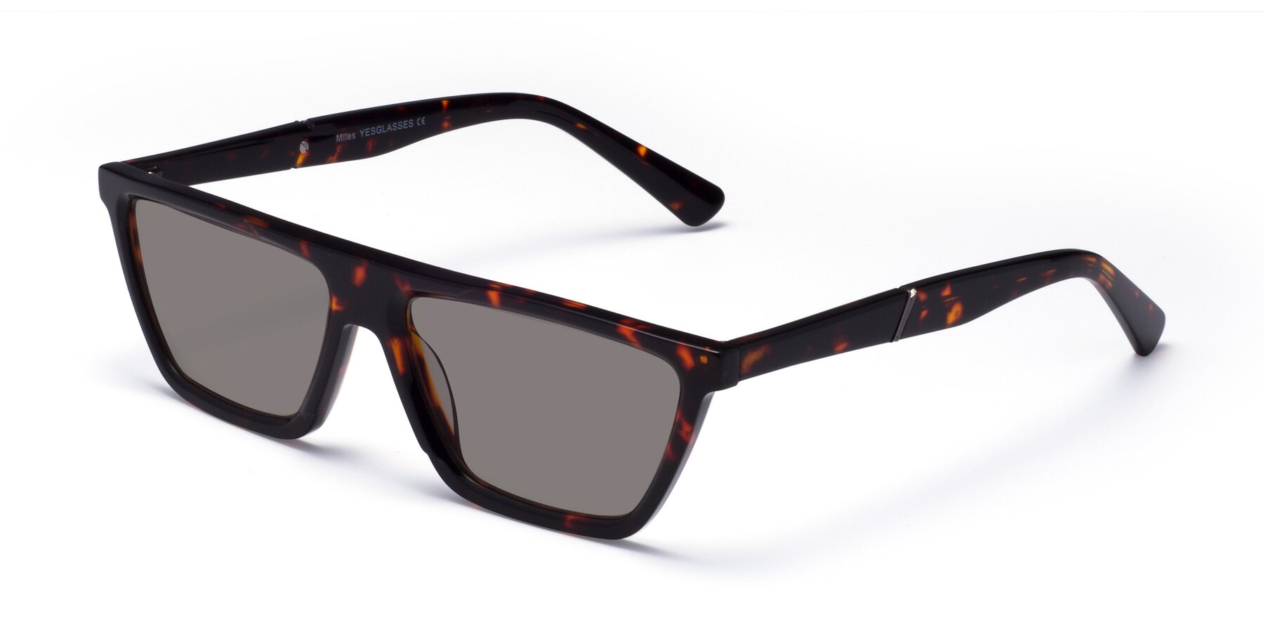 Angle of Miles in Tortoise with Medium Gray Tinted Lenses