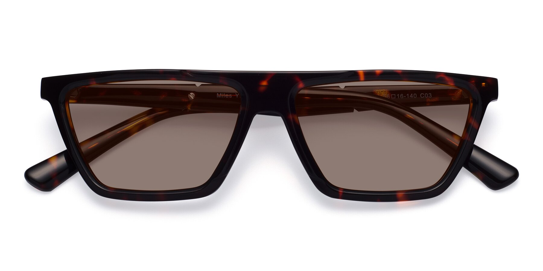 Folded Front of Miles in Tortoise with Medium Brown Tinted Lenses