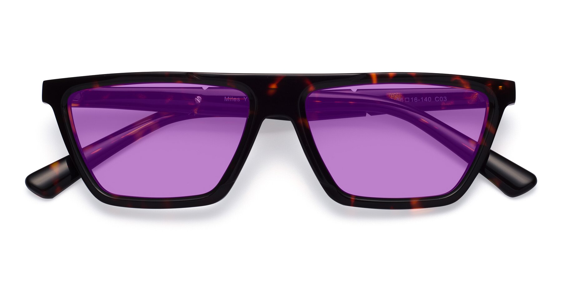 Folded Front of Miles in Tortoise with Medium Purple Tinted Lenses