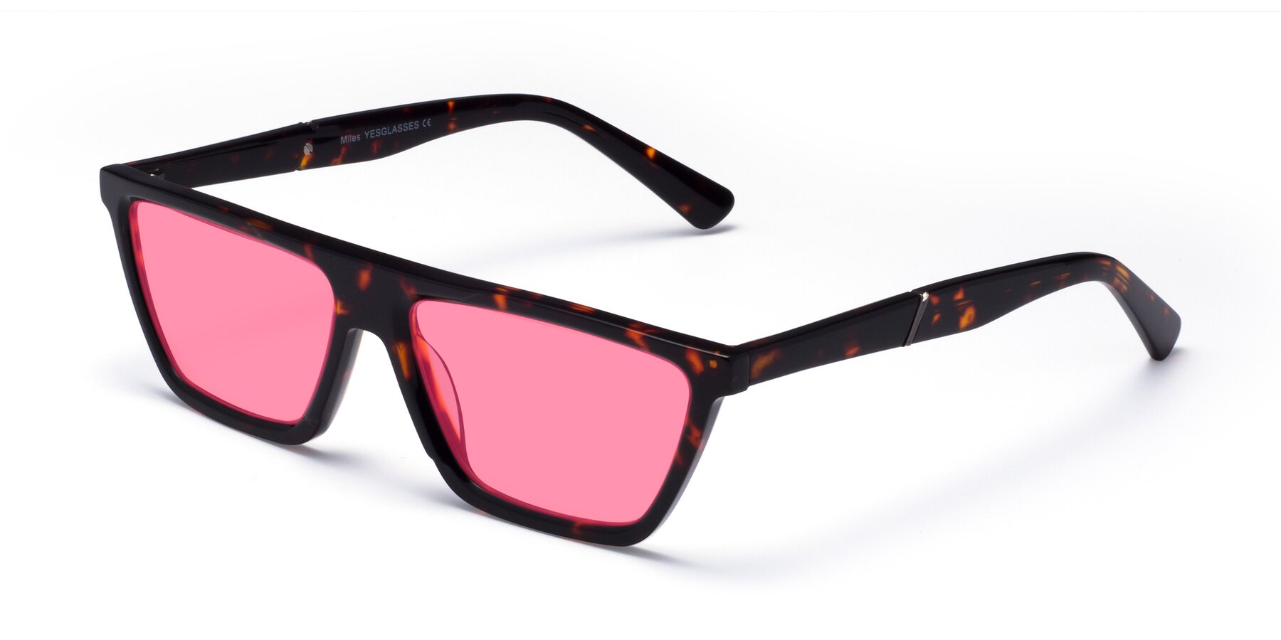 Angle of Miles in Tortoise with Pink Tinted Lenses