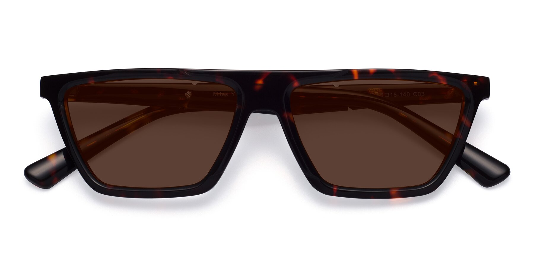Folded Front of Miles in Tortoise with Brown Tinted Lenses