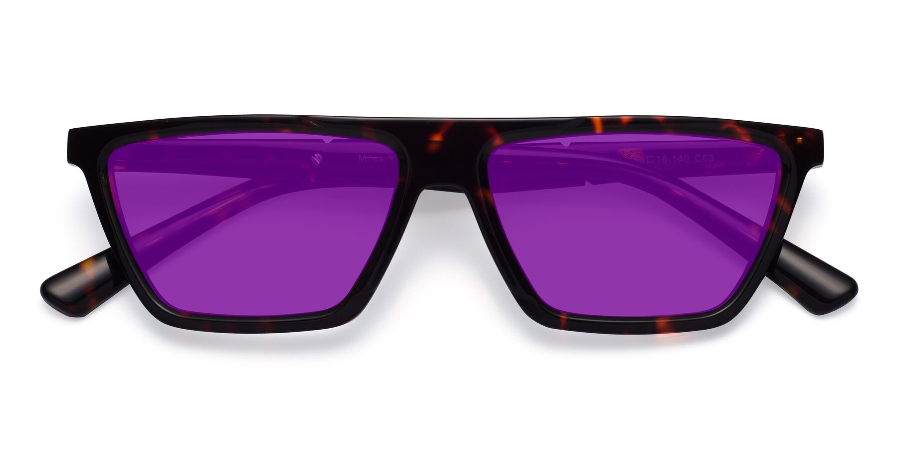 Folded Front of Miles in Tortoise with Purple Tinted Lenses