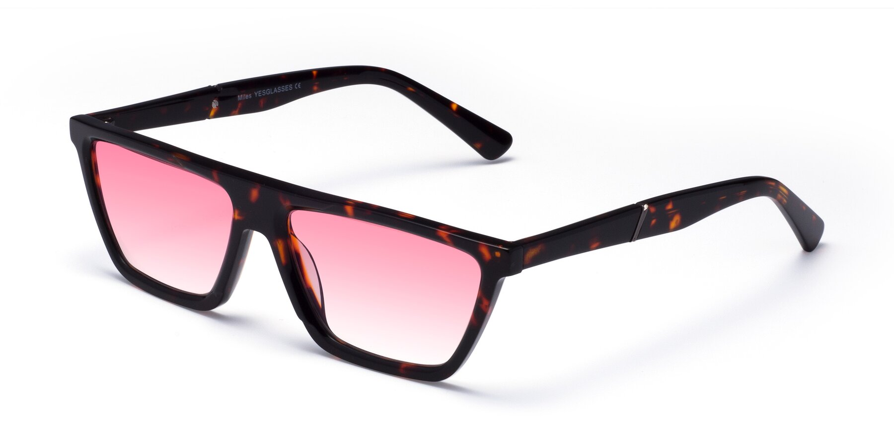 Angle of Miles in Tortoise with Pink Gradient Lenses