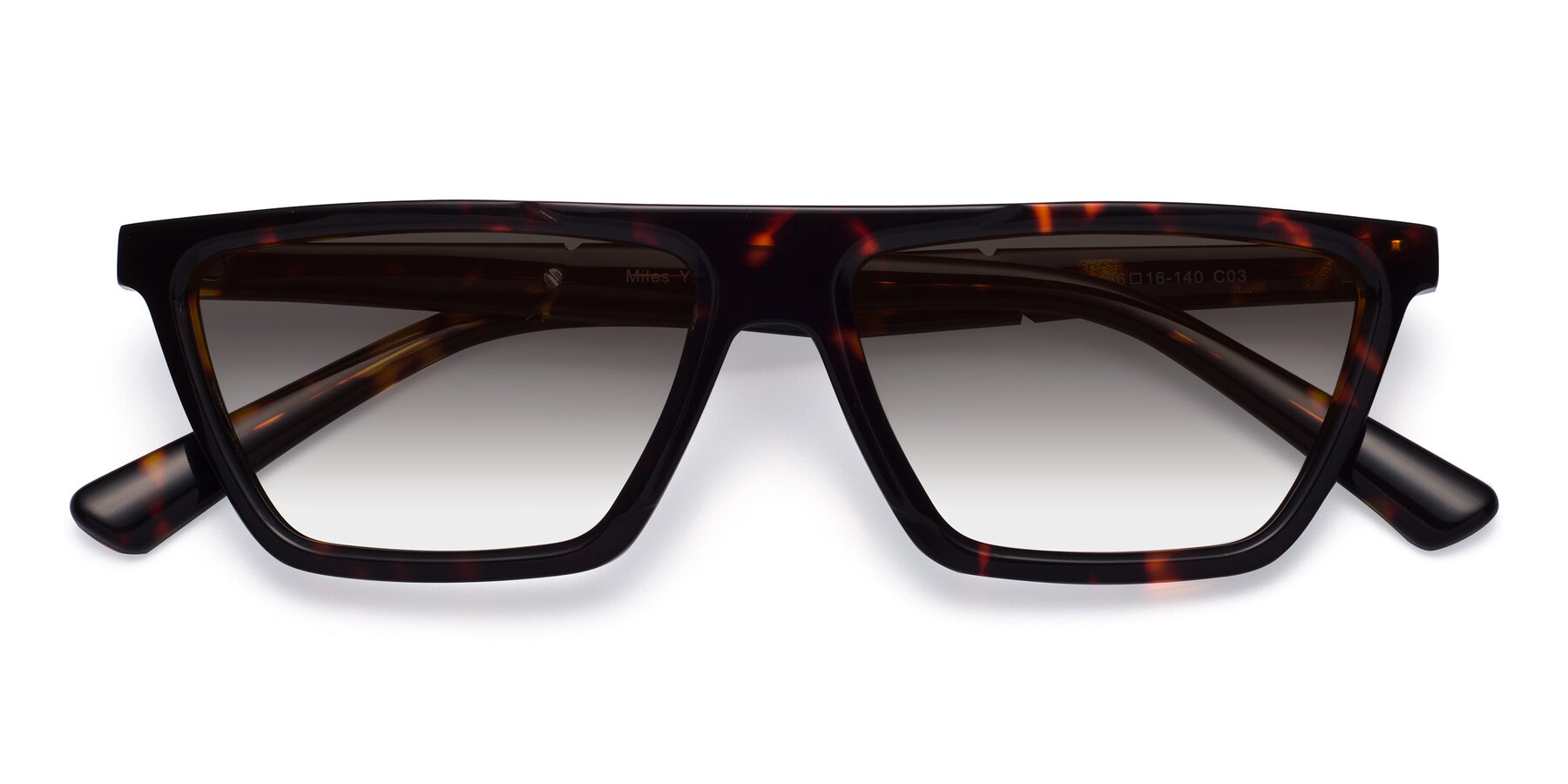 Folded Front of Miles in Tortoise with Gray Gradient Lenses