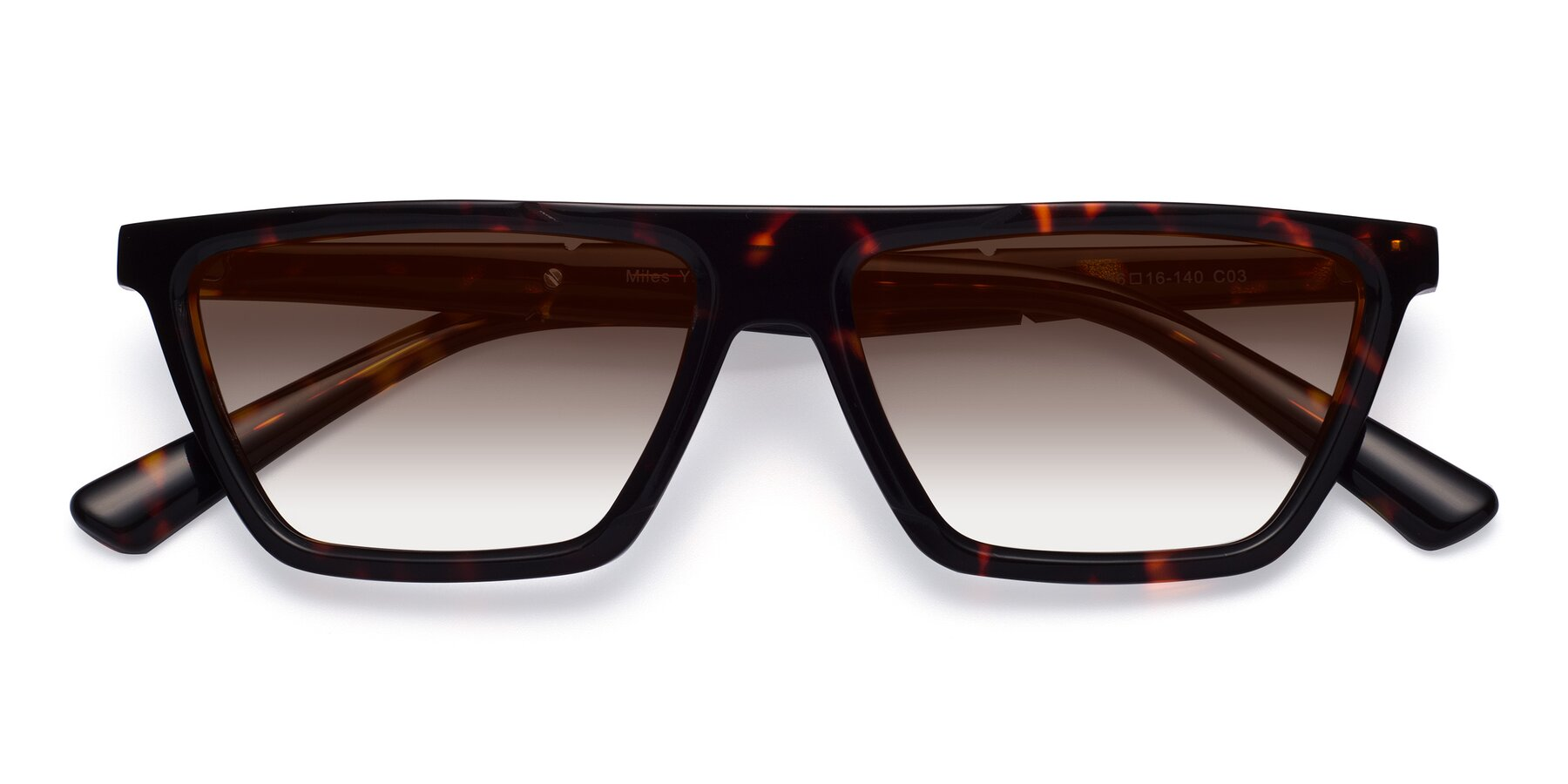 Folded Front of Miles in Tortoise with Brown Gradient Lenses