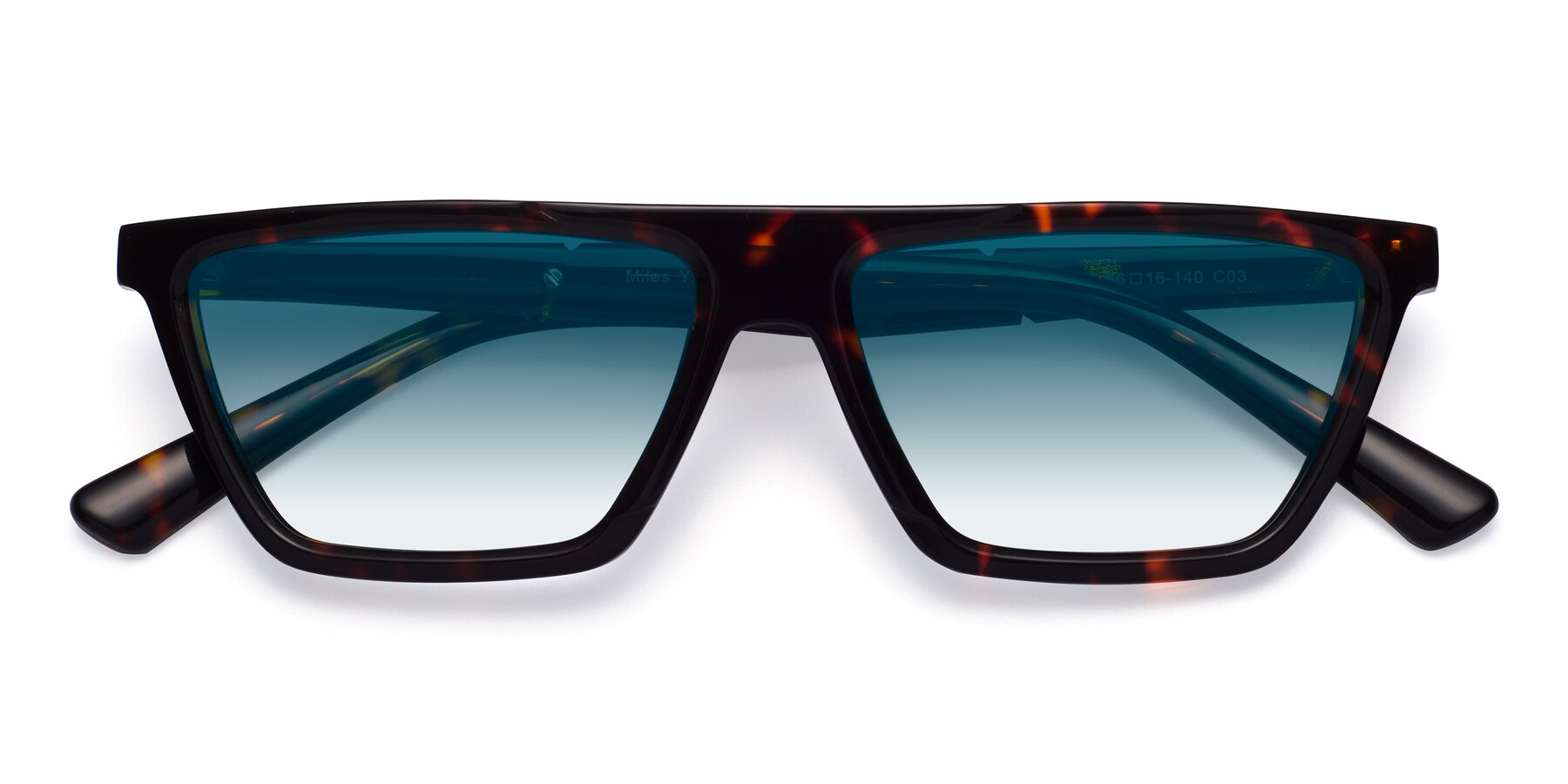 Folded Front of Miles in Tortoise with Blue Gradient Lenses