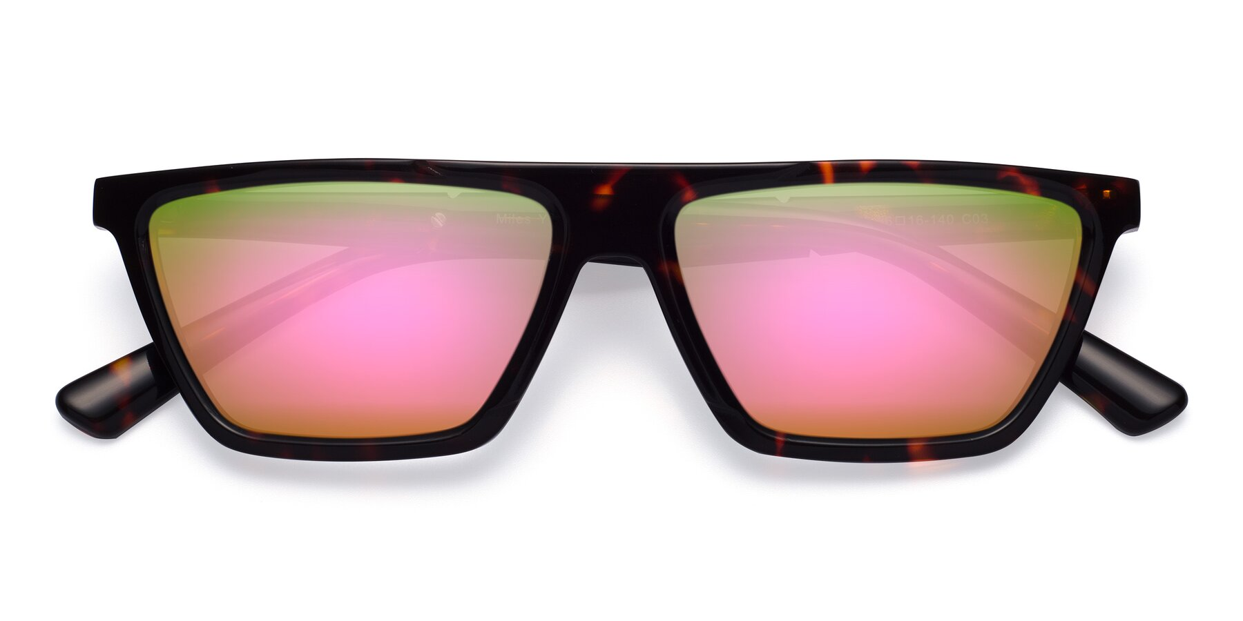 Folded Front of Miles in Tortoise with Pink Mirrored Lenses