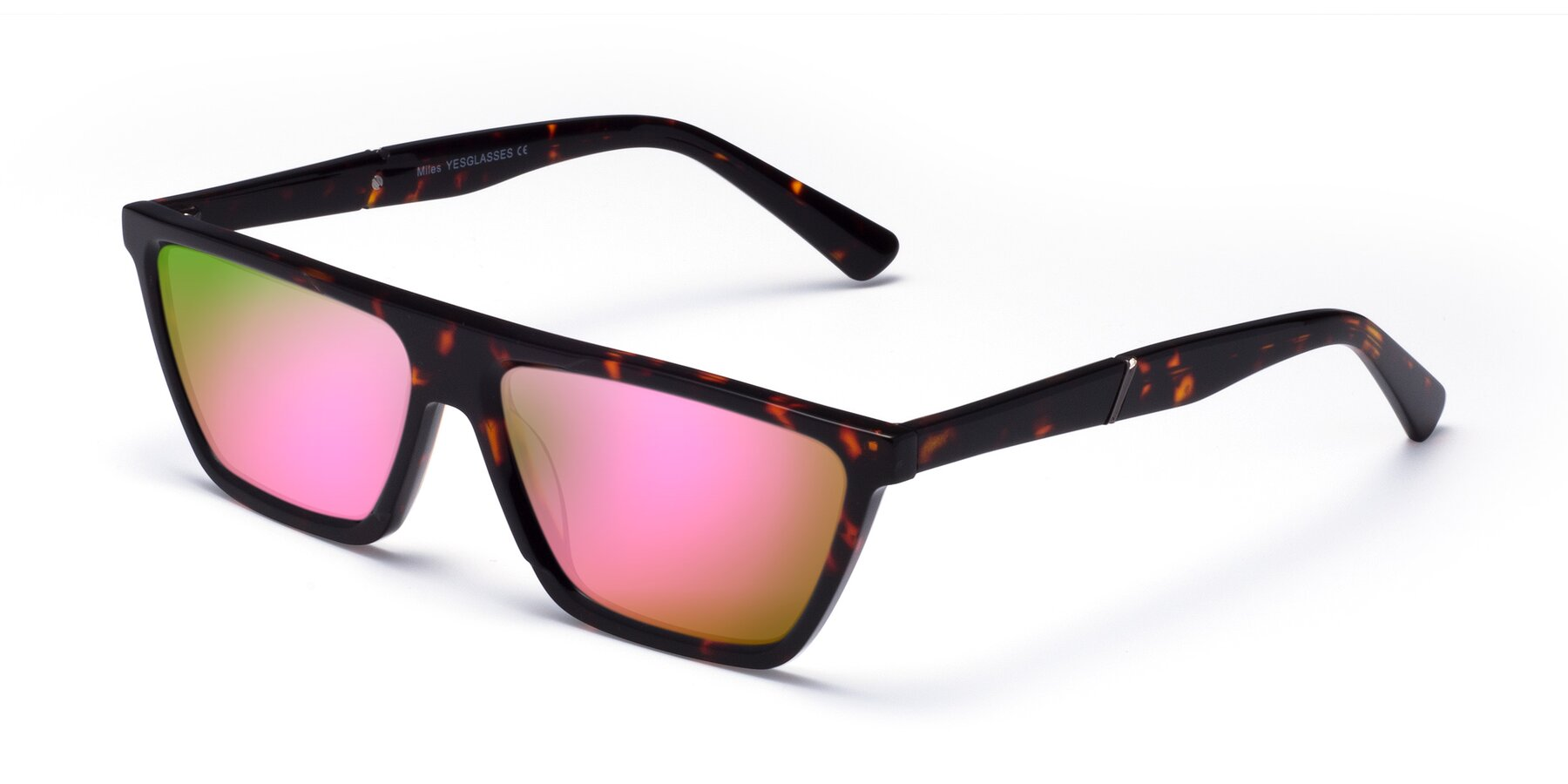 Angle of Miles in Tortoise with Pink Mirrored Lenses