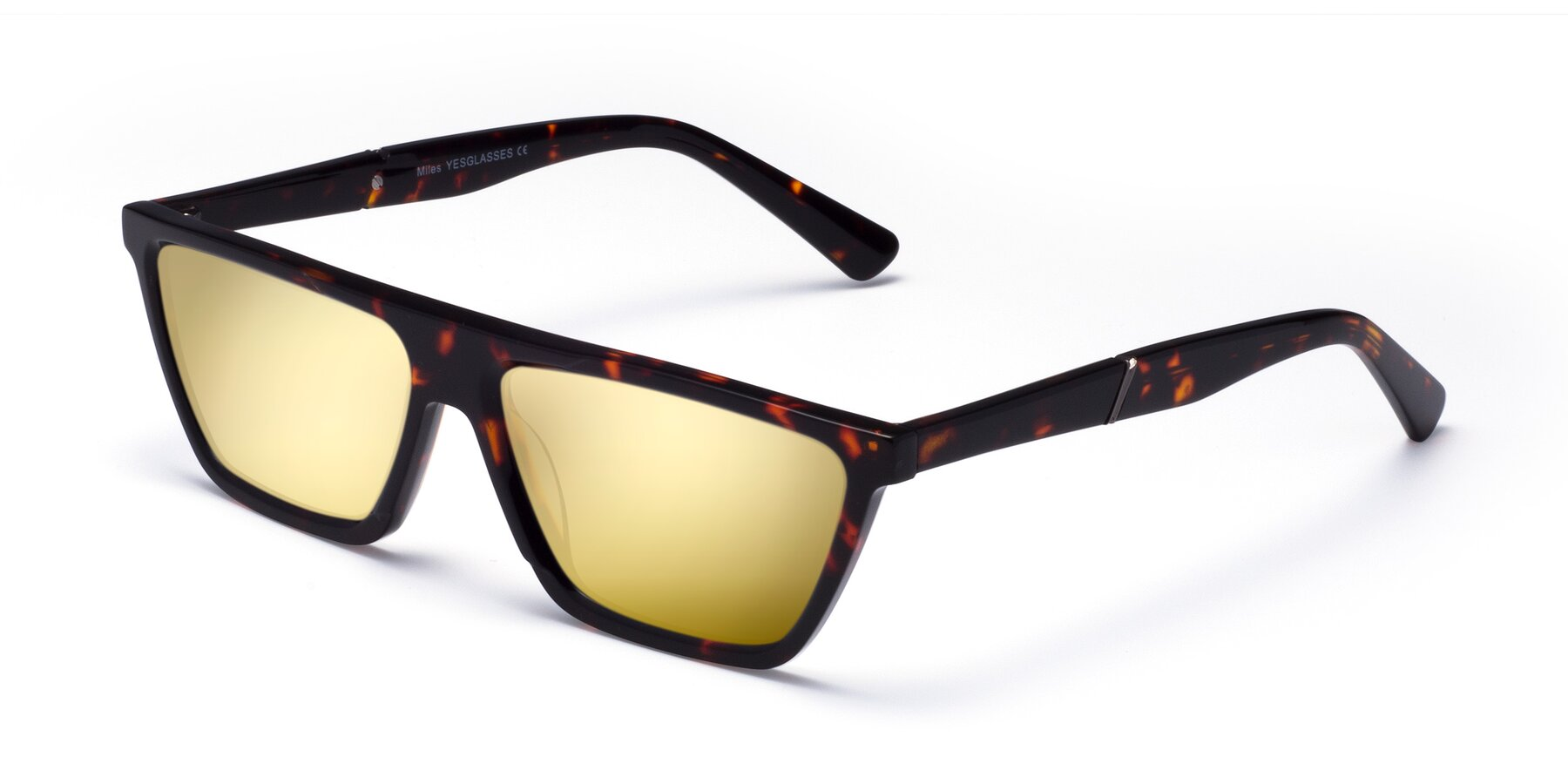 Angle of Miles in Tortoise with Gold Mirrored Lenses