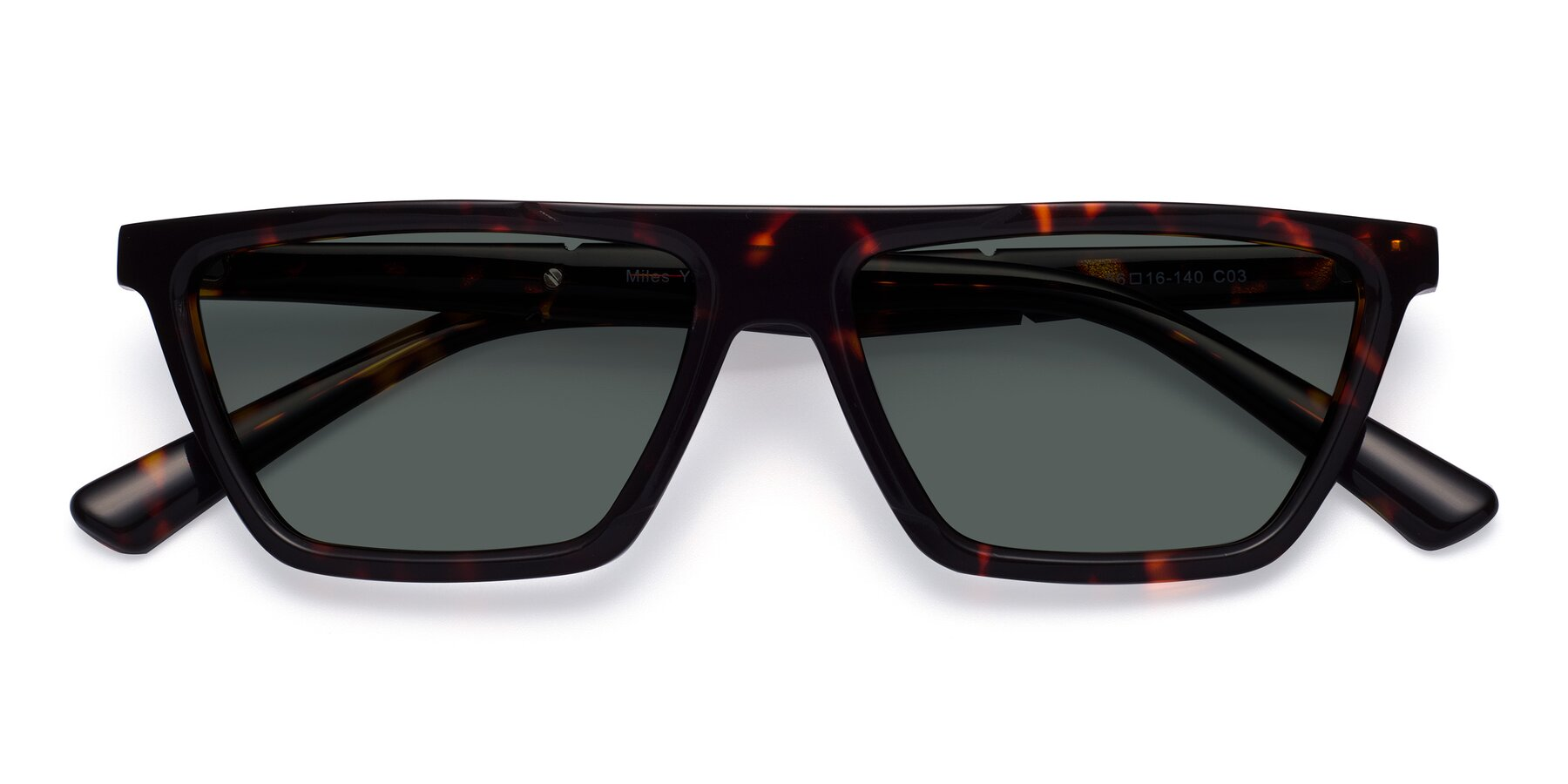 Folded Front of Miles in Tortoise with Gray Polarized Lenses