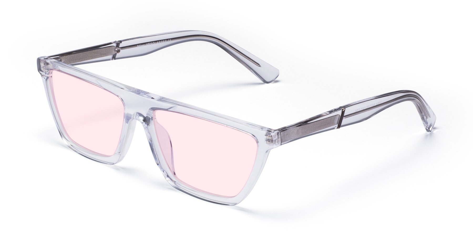 Angle of Miles in Clear with Light Pink Tinted Lenses