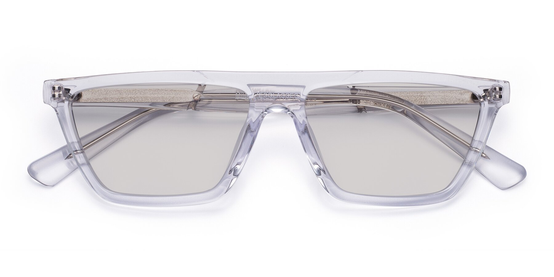 Folded Front of Miles in Clear with Light Gray Tinted Lenses