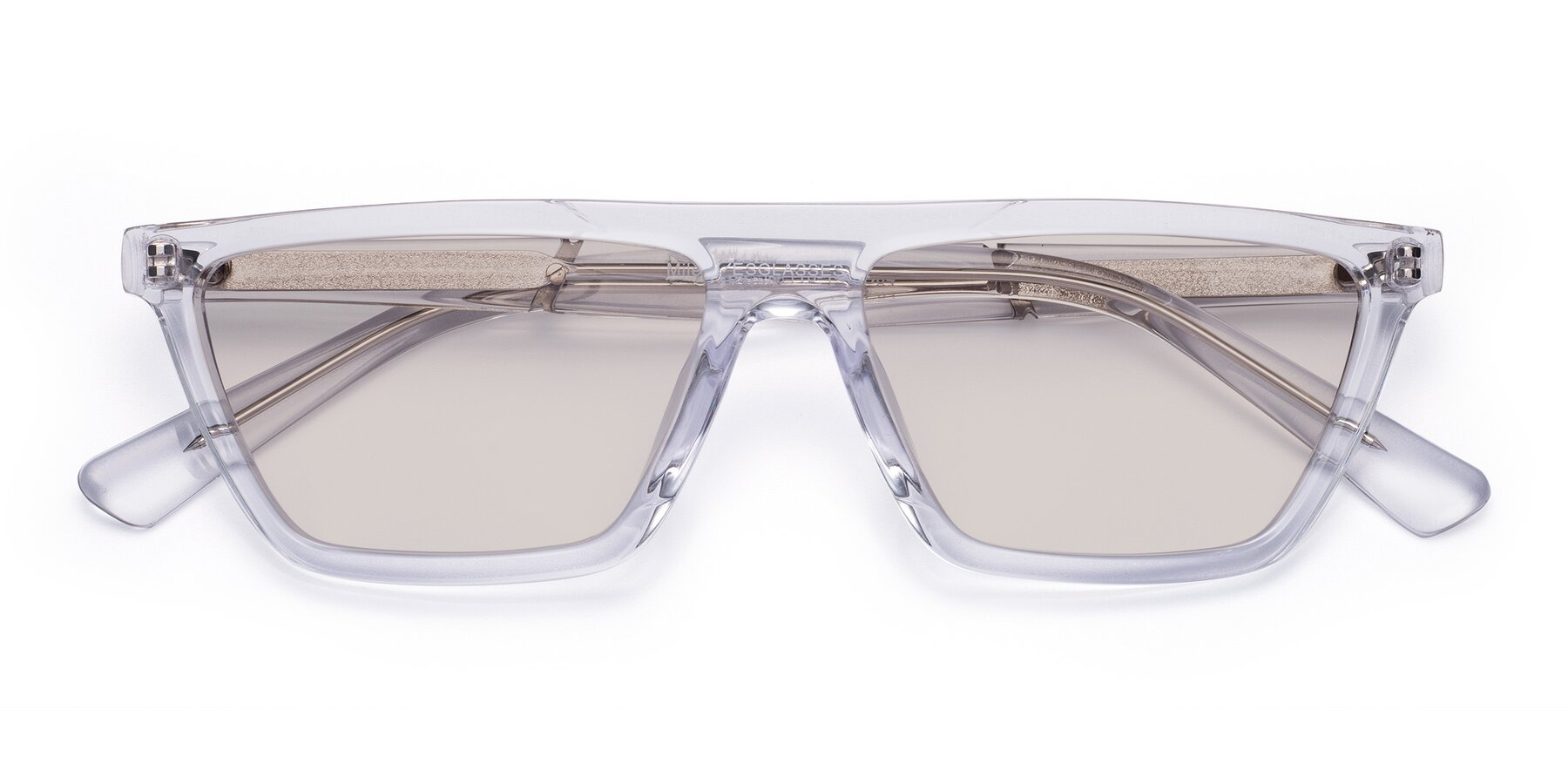 Folded Front of Miles in Clear with Light Brown Tinted Lenses