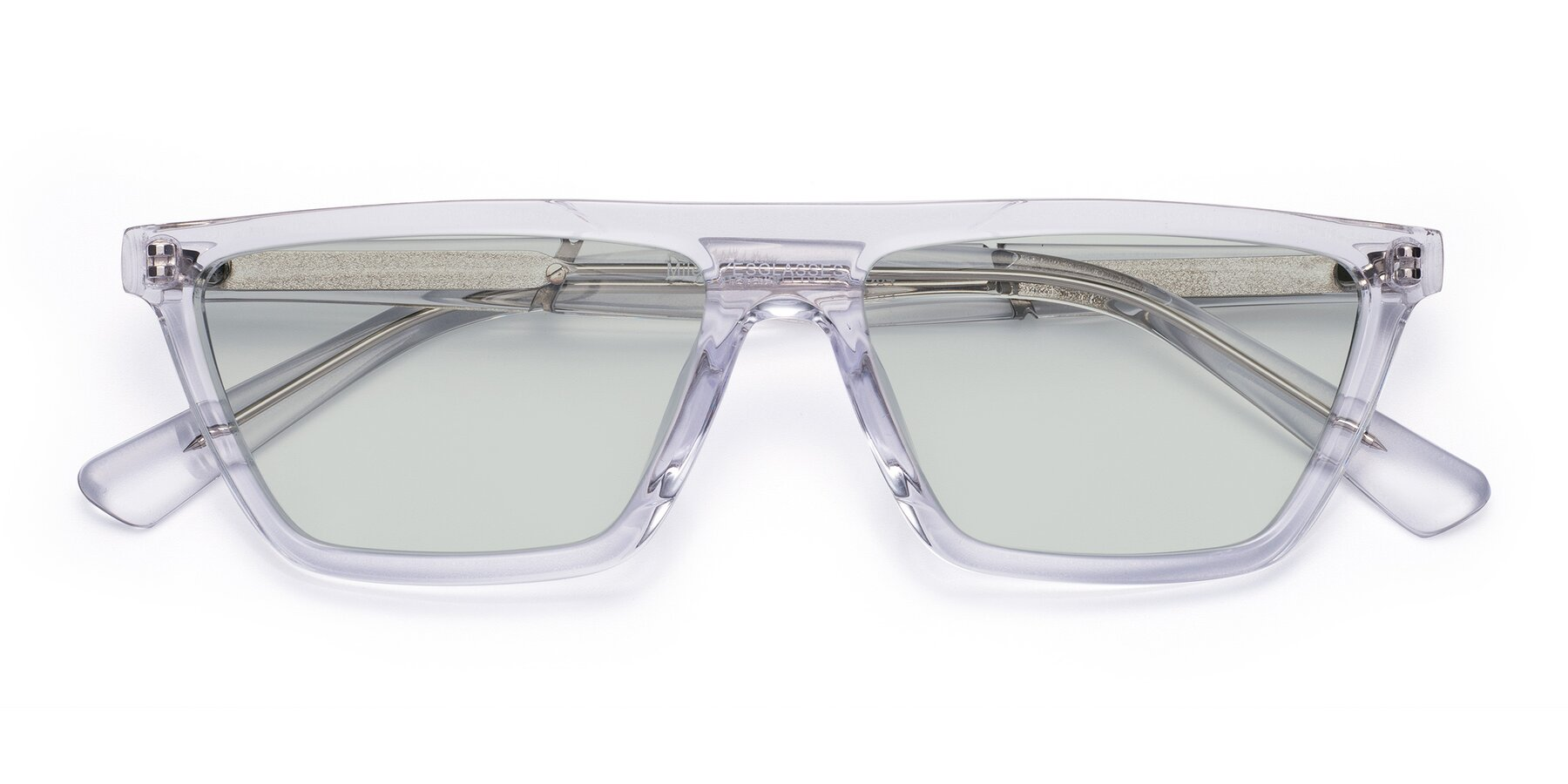 Folded Front of Miles in Clear with Light Green Tinted Lenses