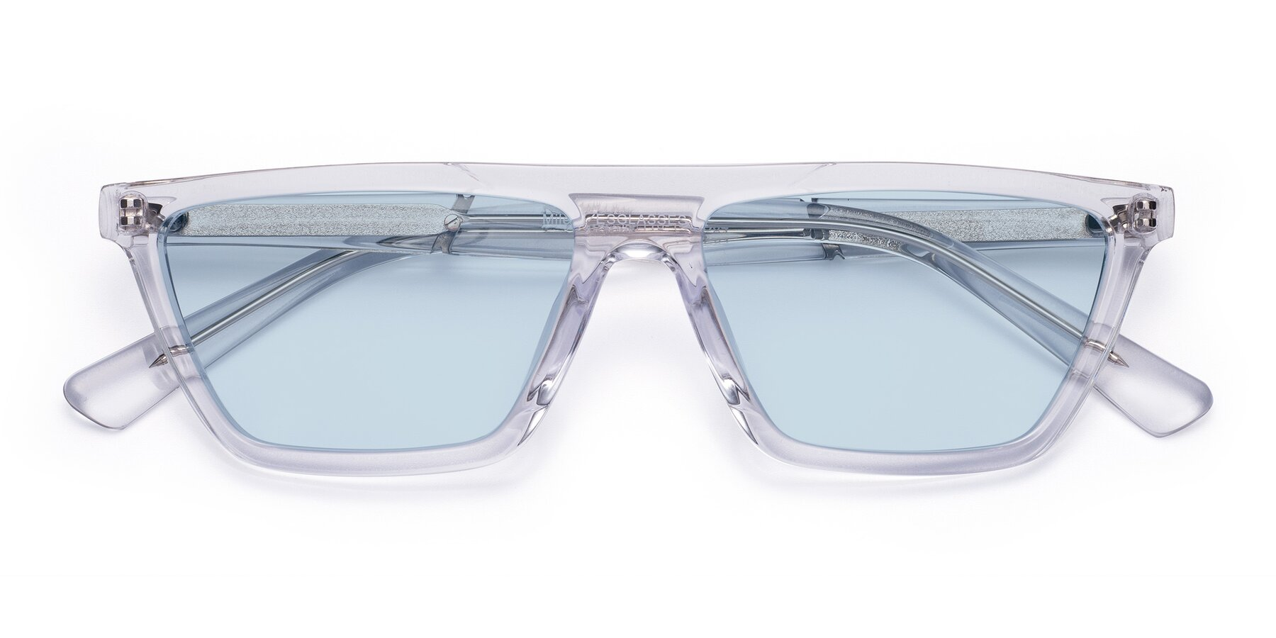 Folded Front of Miles in Clear with Light Blue Tinted Lenses