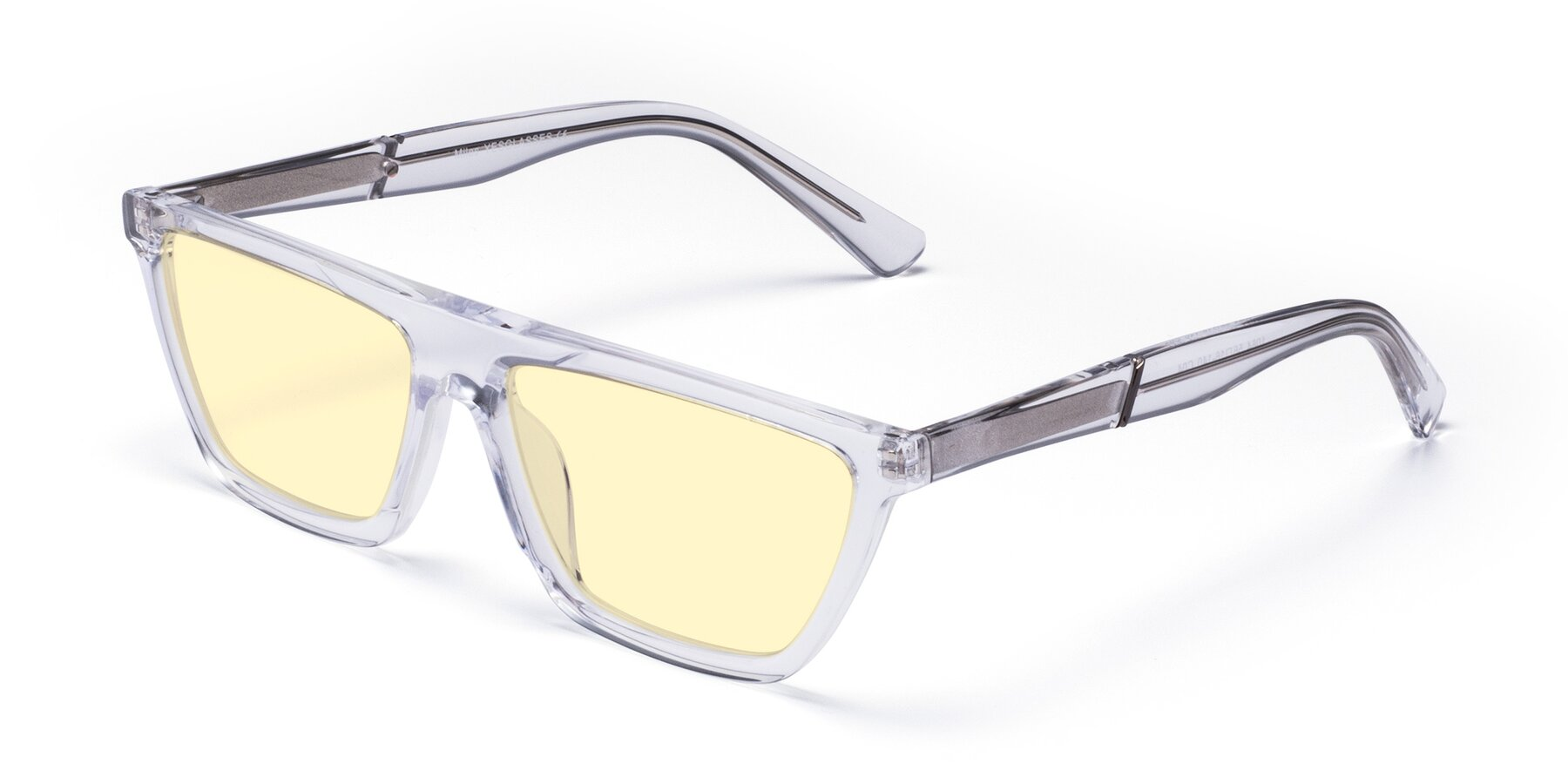 Angle of Miles in Clear with Light Yellow Tinted Lenses