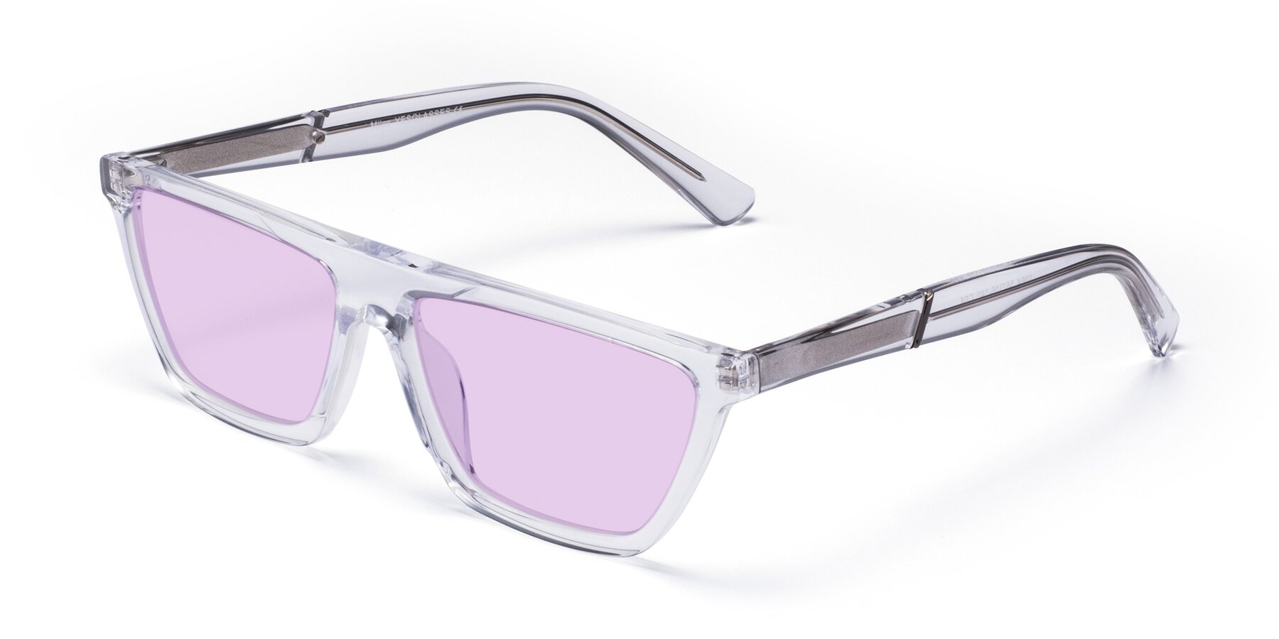 Angle of Miles in Clear with Light Purple Tinted Lenses