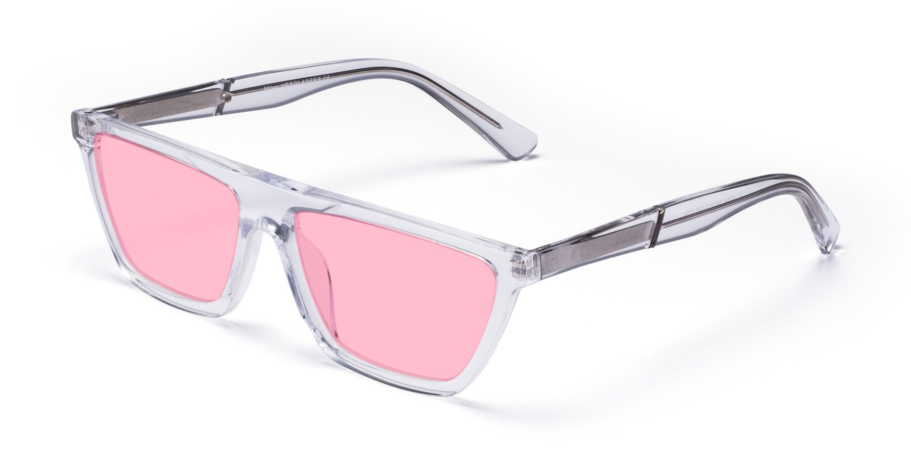 Angle of Miles in Clear with Medium Pink Tinted Lenses