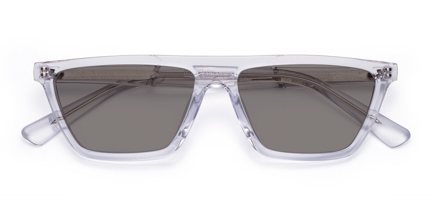 Folded Front of Miles in Clear with Medium Gray Tinted Lenses