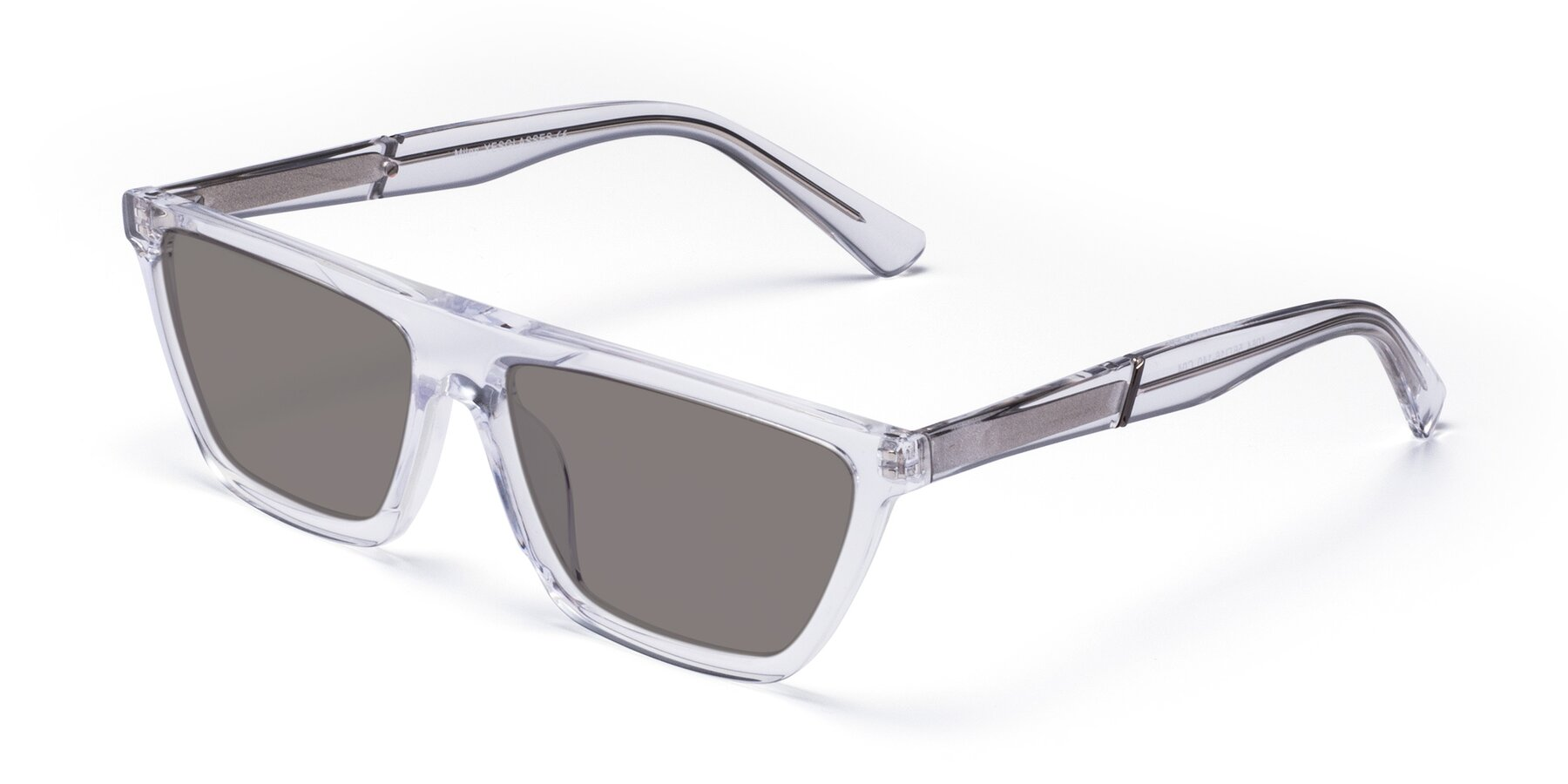 Angle of Miles in Clear with Medium Gray Tinted Lenses