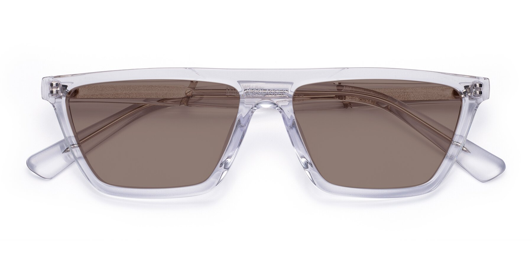 Folded Front of Miles in Clear with Medium Brown Tinted Lenses