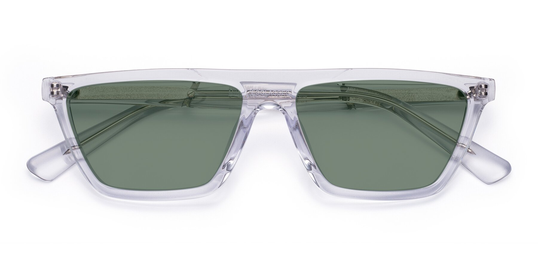 Folded Front of Miles in Clear with Medium Green Tinted Lenses