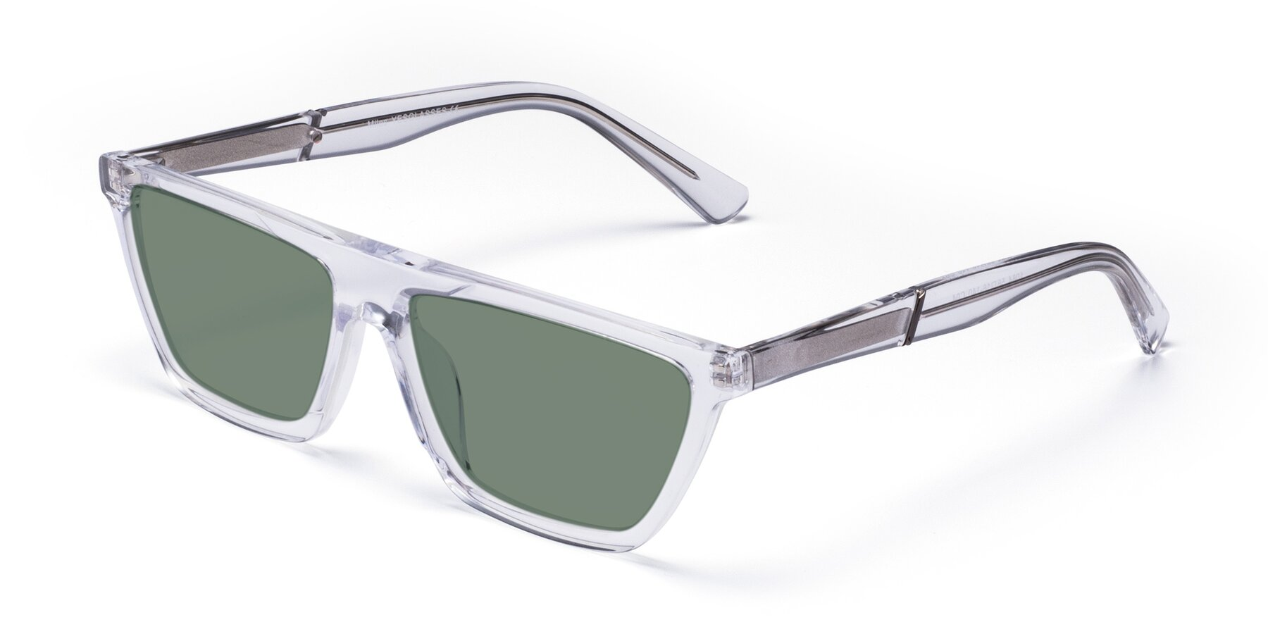 Angle of Miles in Clear with Medium Green Tinted Lenses