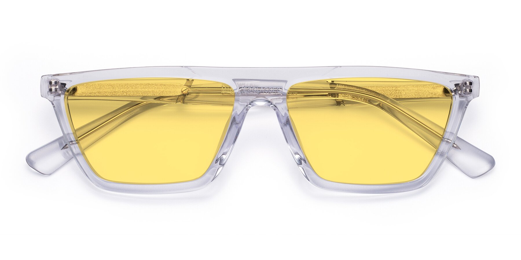 Folded Front of Miles in Clear with Medium Yellow Tinted Lenses