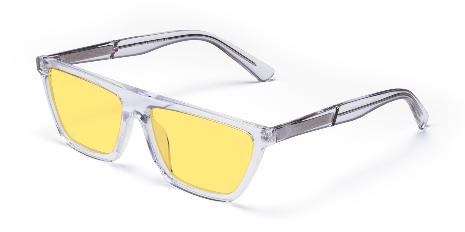 Angle of Miles in Clear with Medium Yellow Tinted Lenses