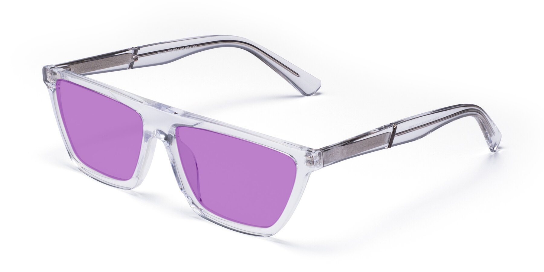 Angle of Miles in Clear with Medium Purple Tinted Lenses