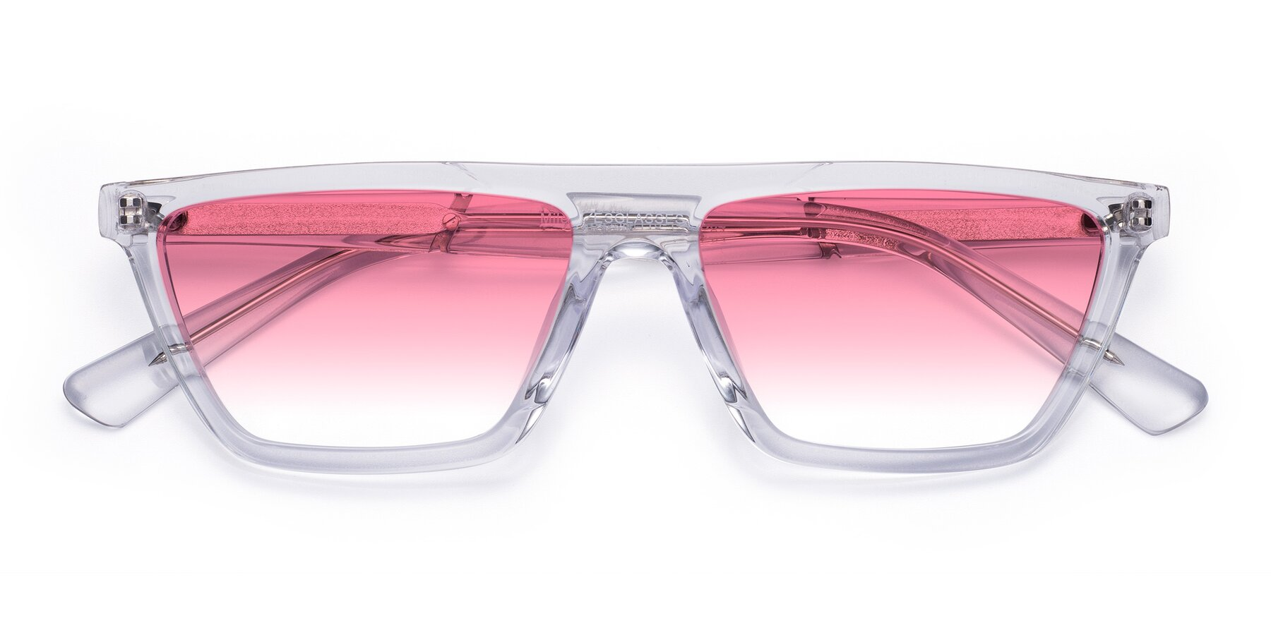 Folded Front of Miles in Clear with Pink Gradient Lenses